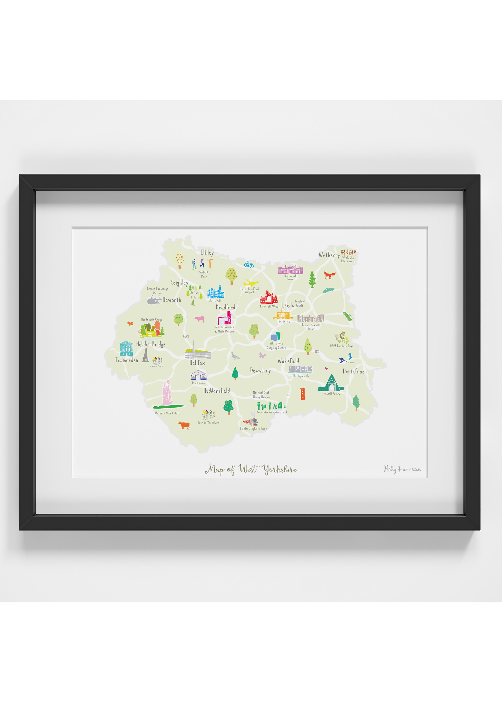 Holly Francesca Holly Francesca Map of West Yorkshire A4