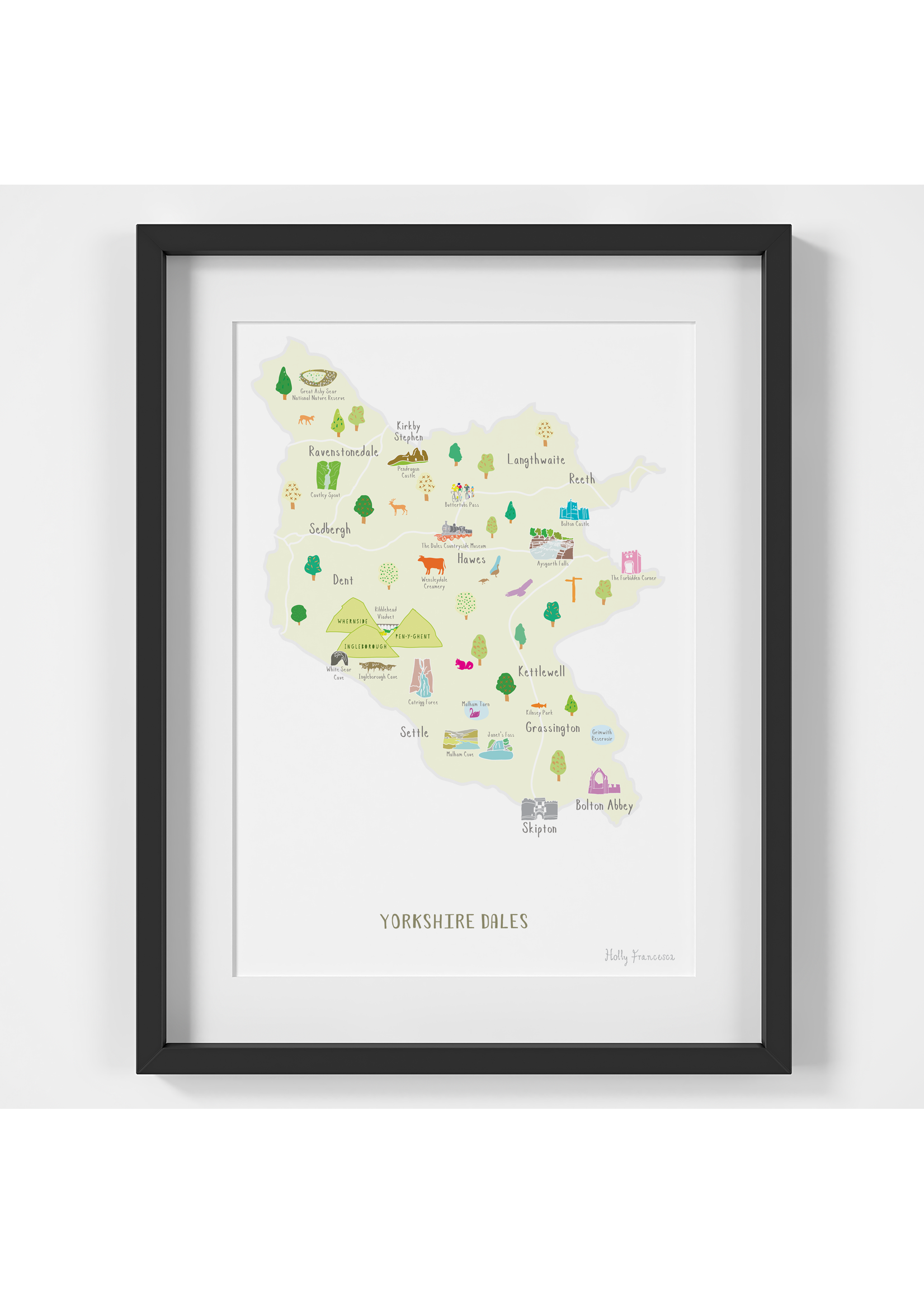 Holly Francesca Holly Francesca Map of the Yorkshire Dales A4