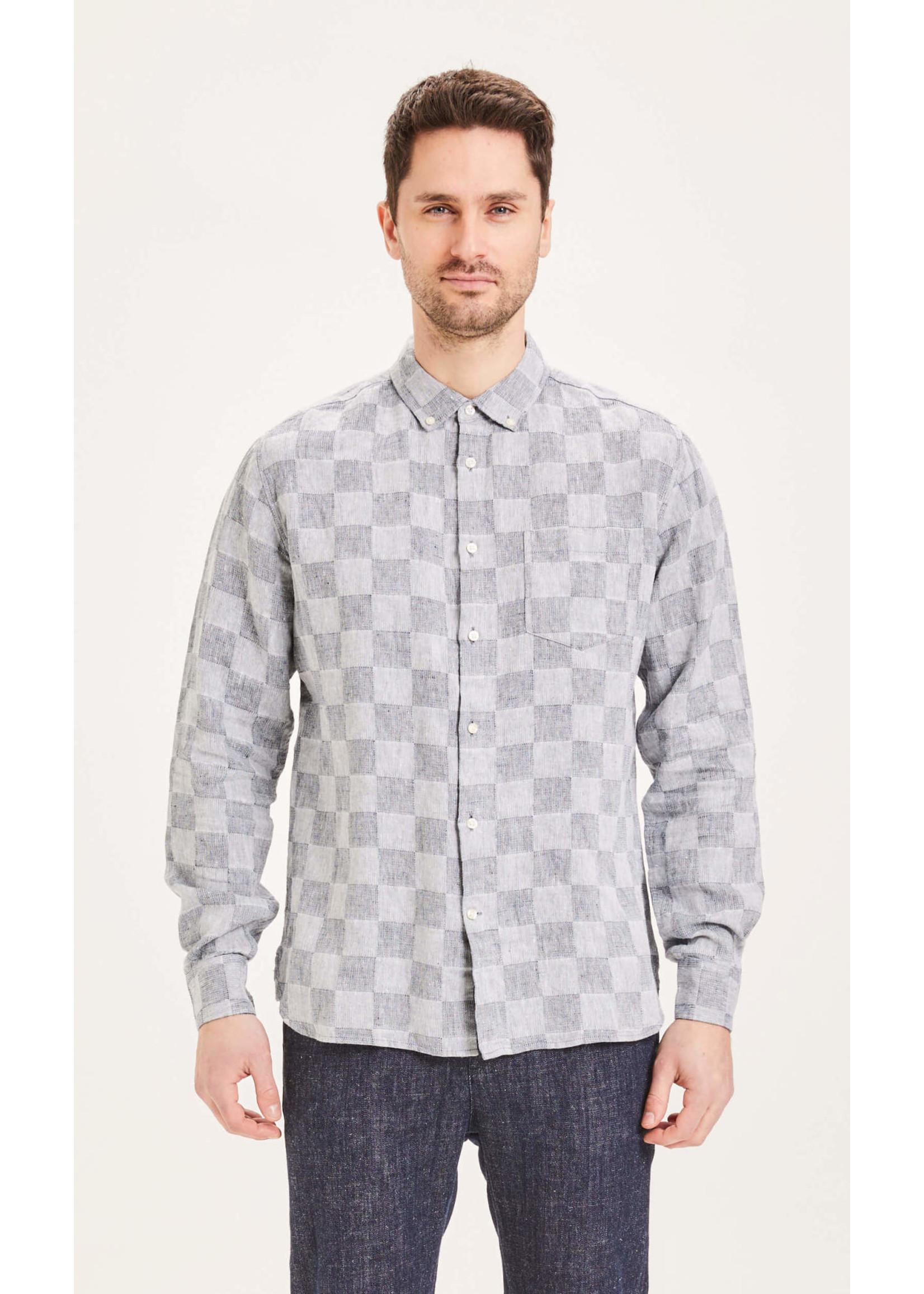 KnowledgeCotton KnowledgeCotton Elder regular fit checked linen shirt