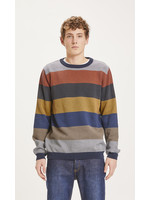 KnowledgeCotton FIELD O-neck two toned diagonal knit