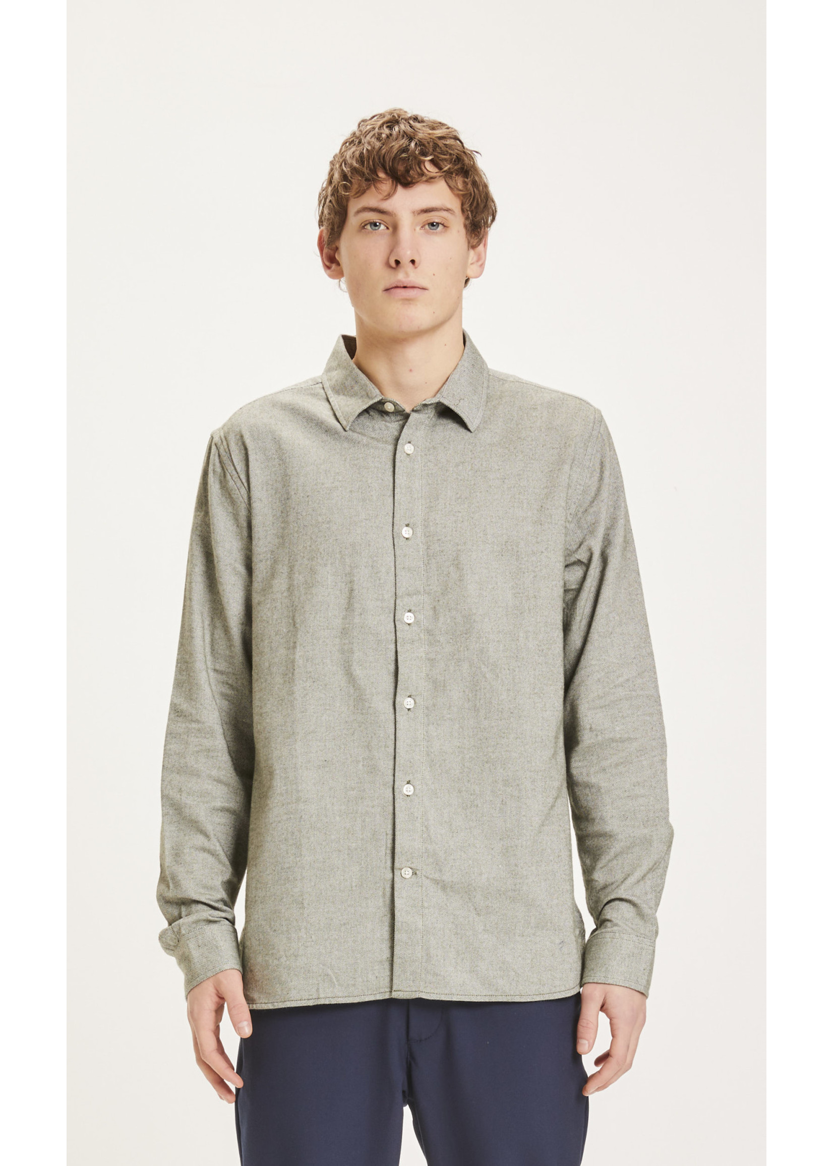 KnowledgeCotton KnowledgeCotton LARCH casual fit heavy flannel shirt - Forrest Night