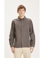 KnowledgeCotton ELDER regular fit melange flannel shirt - Dark Earth