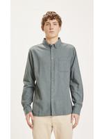 KnowledgeCotton ELDER regular fit melange flannel shirt - Green Forest