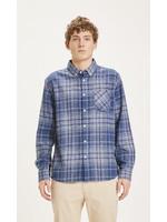 KnowledgeCotton LARCH regular fit heavy flannel checked shirt - Dark Denim