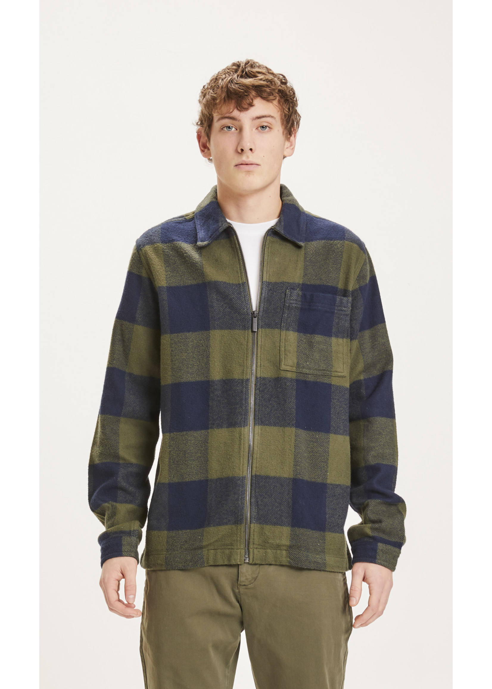 KnowledgeCotton KnowledgeCotton Pine checked heavy flannel overshirt - Forrest Night