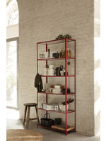 ferm LIVING Haze Bookcase - Reeded Glass - Red