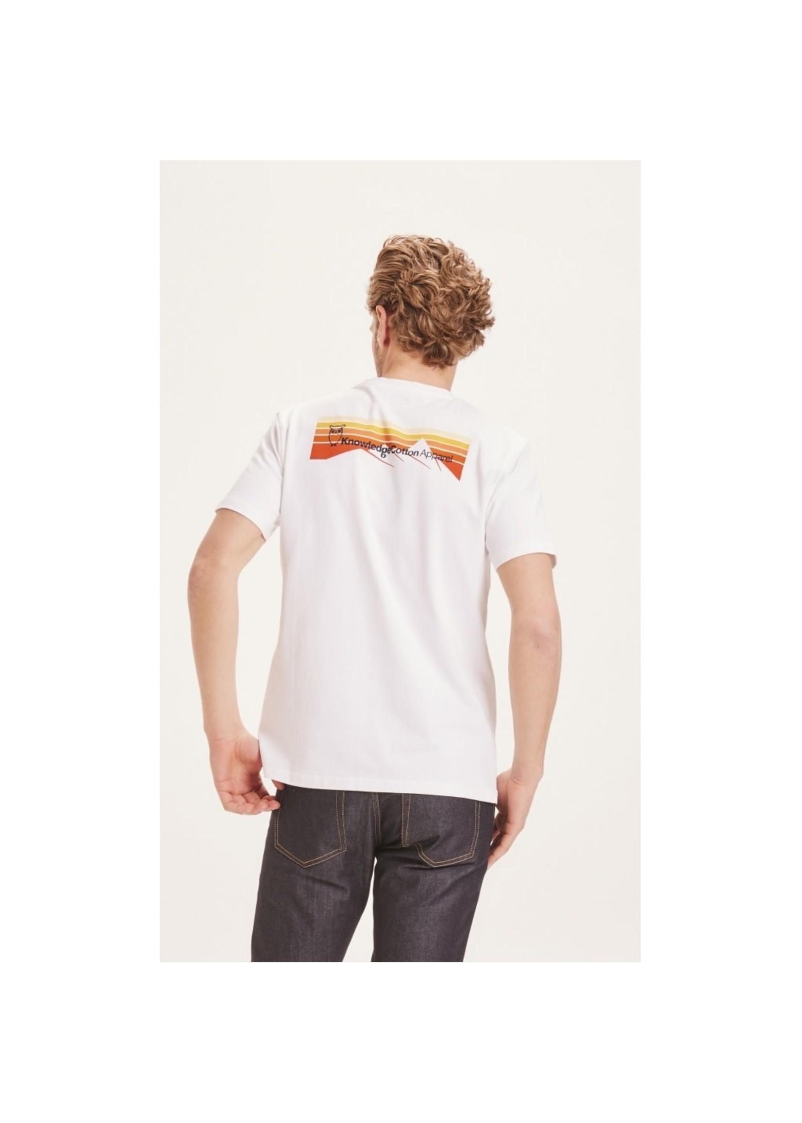 KnowledgeCotton KnowledgeCotton ALDER trademark mountain back printed tee - White