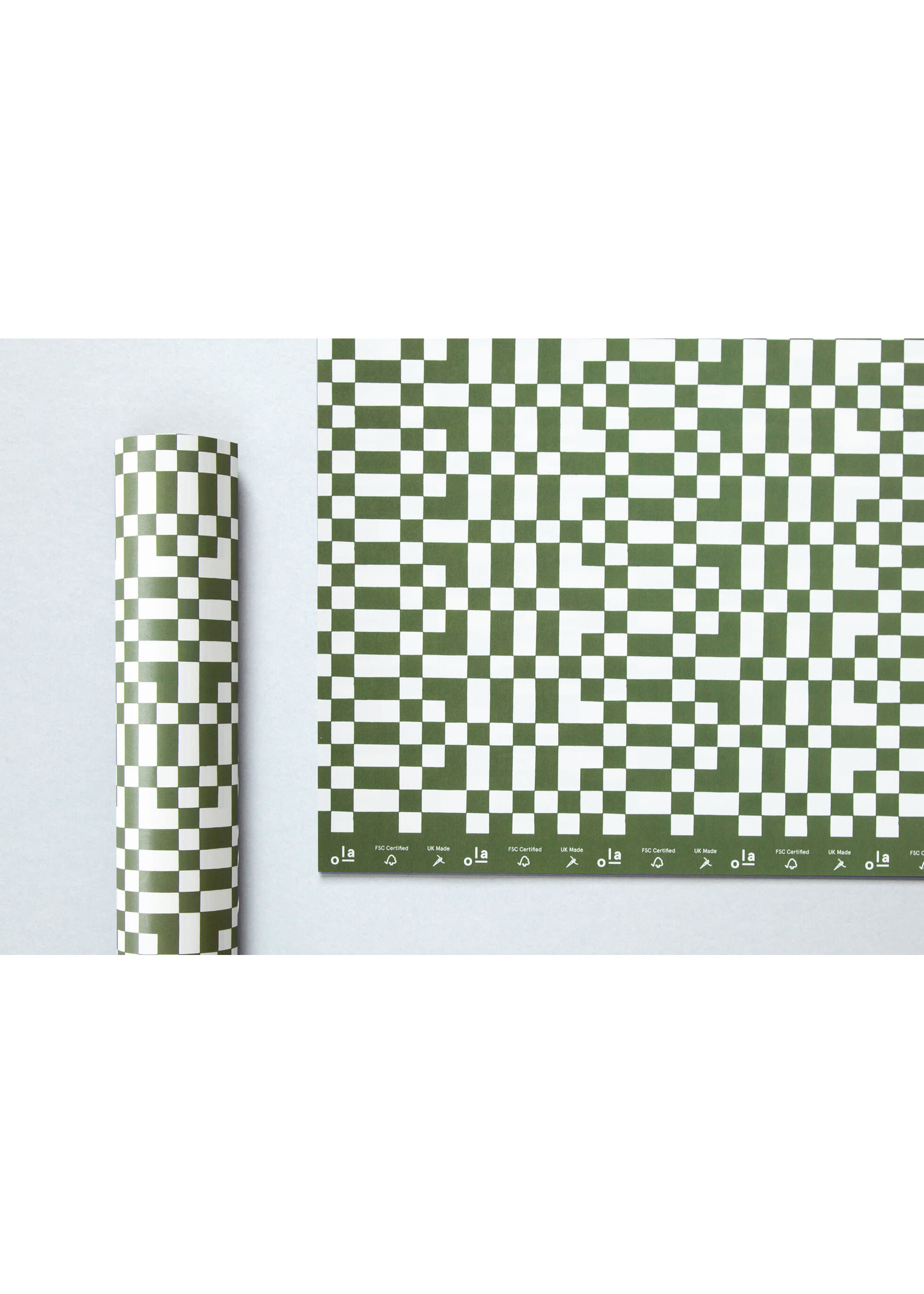 Ola Ola Patterned Papers: Otti print in Olive Green