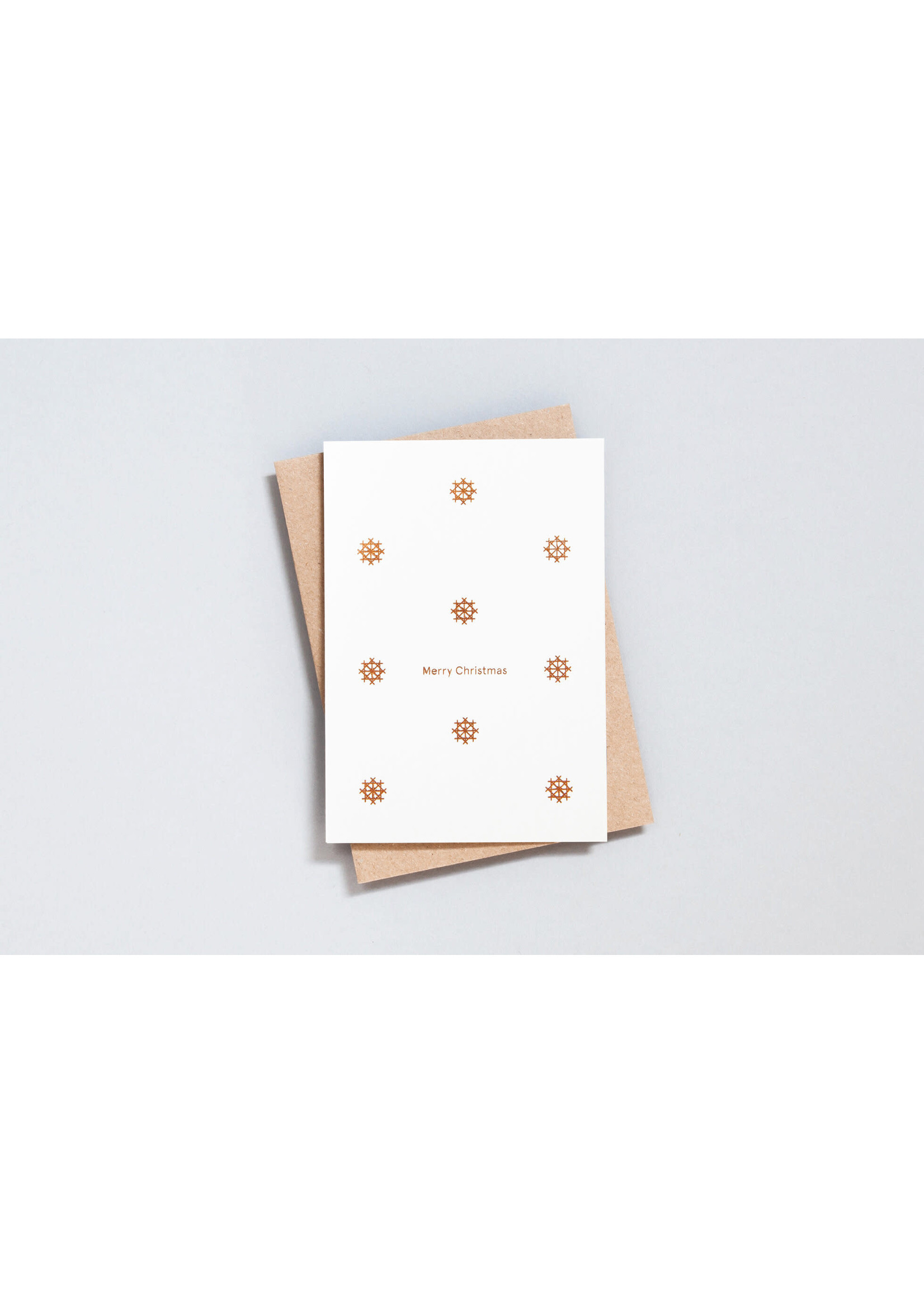 Ola Ola Merry Christmas - Snowflake Motif in Copper on Recycled Natural
