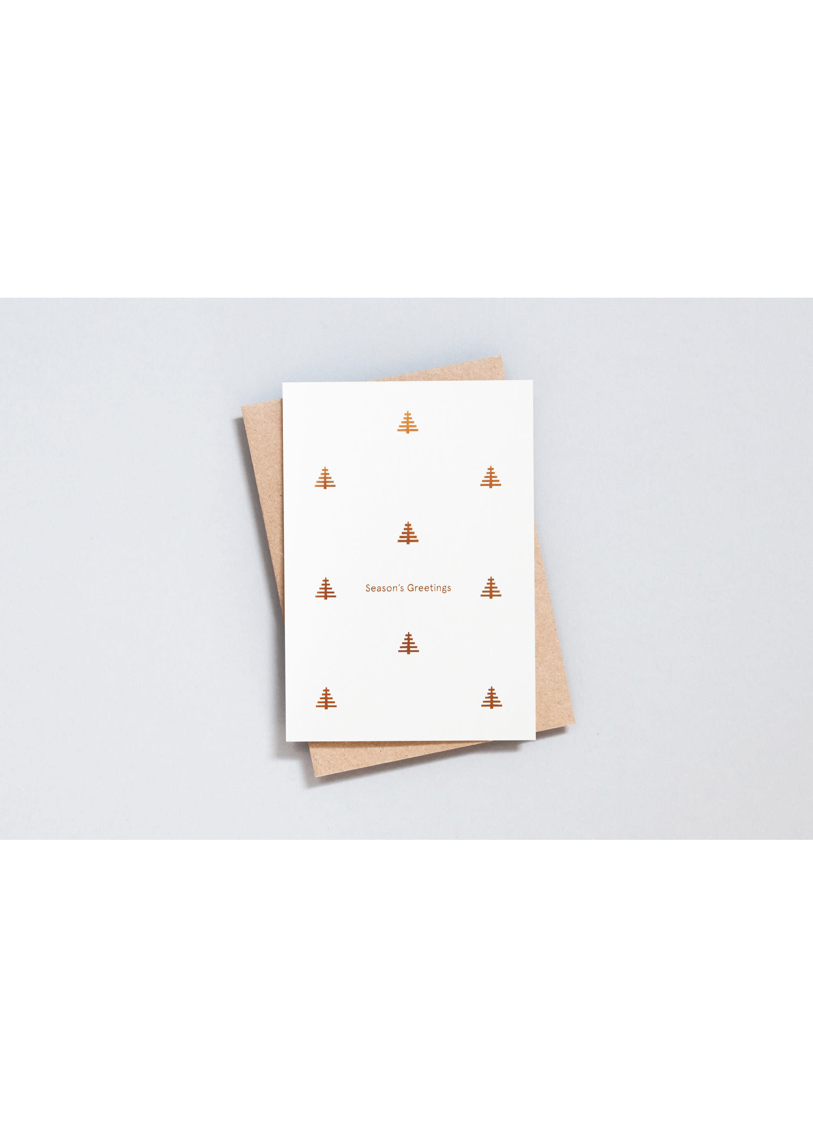 Ola Ola Season's Greetings - Tree Motif in Copper on Recycled Natural