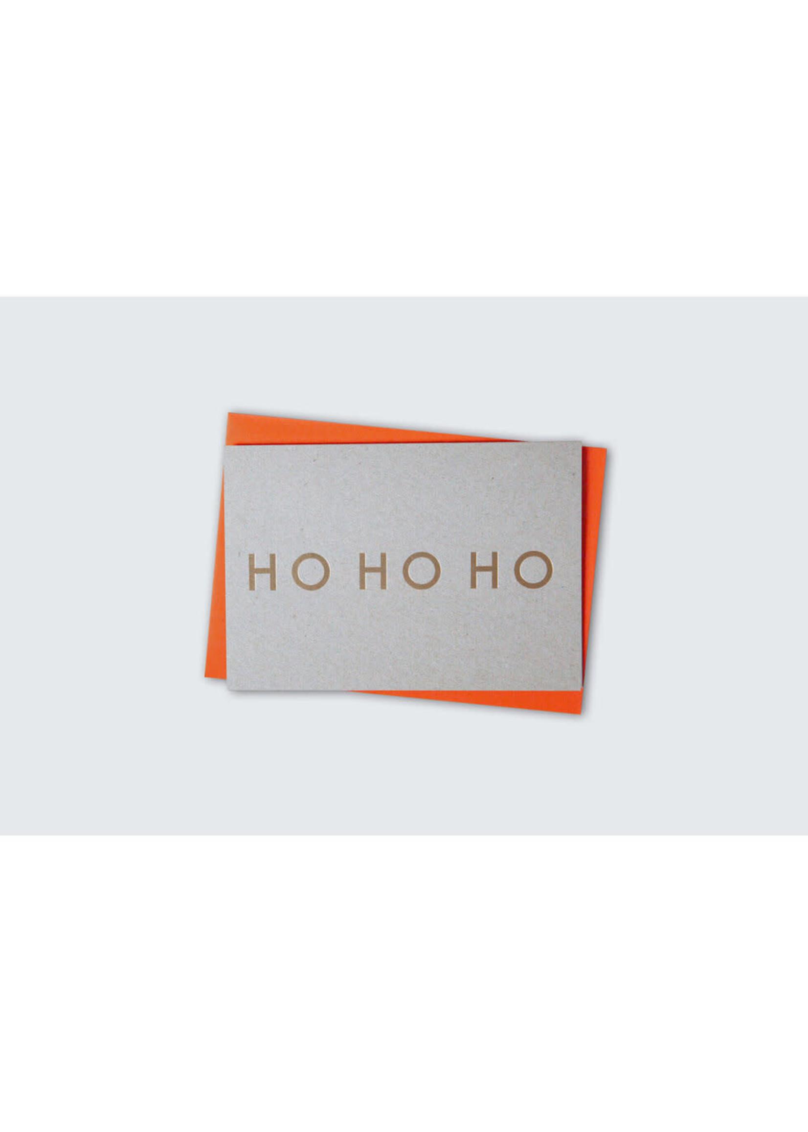 Ola Ola Foil Blocked Fluorescent Cards: HO HO HO Brass on Grey