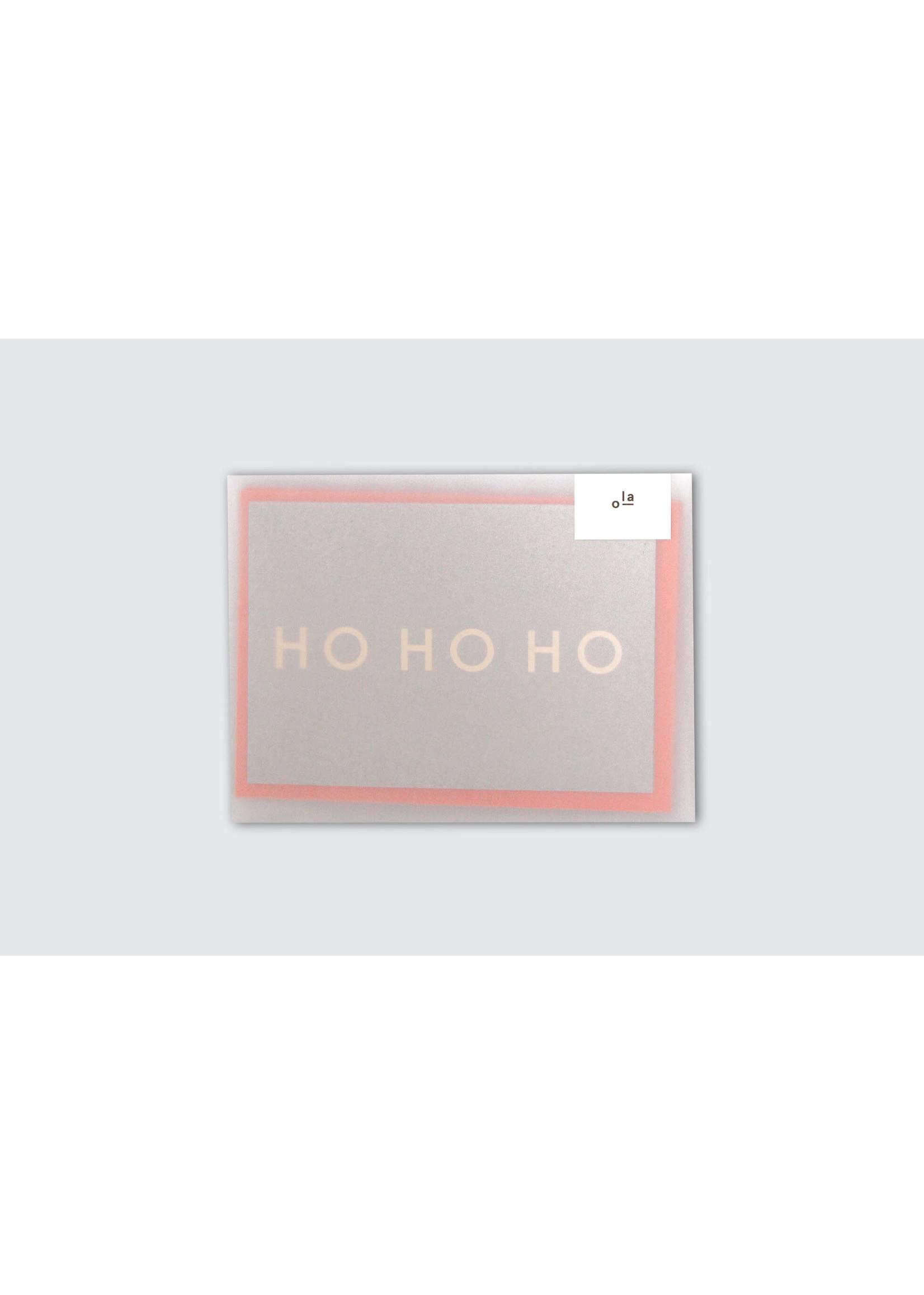 Ola Ola Pack of 6 Festive cards - HoHoHo print Brass on Recycled Grey