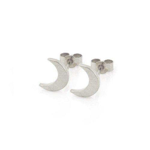 Laura Gravestock Dainty Moon Studs - Silver