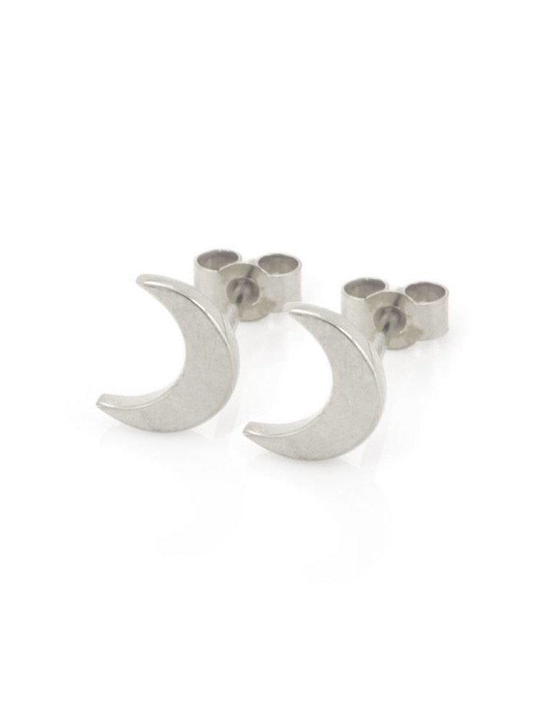 Laura Gravestock Laura Gravestock Dainty Moon Studs - Silver