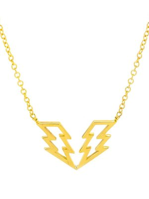 "Laura Gravestock Laura Gravestock Struck Twice Necklace 16"" - Gold Plated"