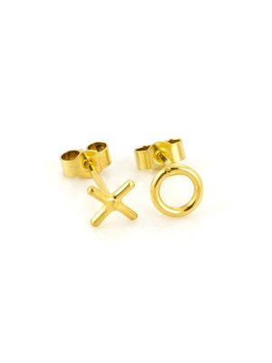 Laura Gravestock Written X O Stud Earring - Gold Plated