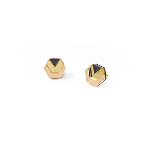 Wolf & Moon Originals Little Hex Studs - Peach/Gold/Navy