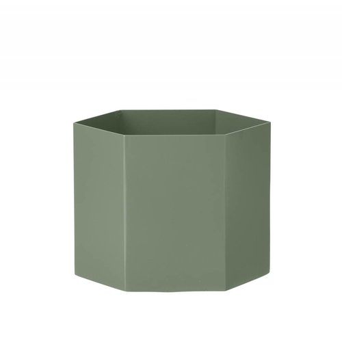 ferm LIVING Hexagon Pot - Dusty Green - Extra Large