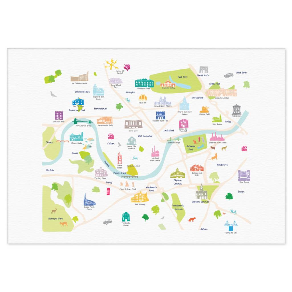 South West London Map.Holly Francesca Map Of Central South West London Print