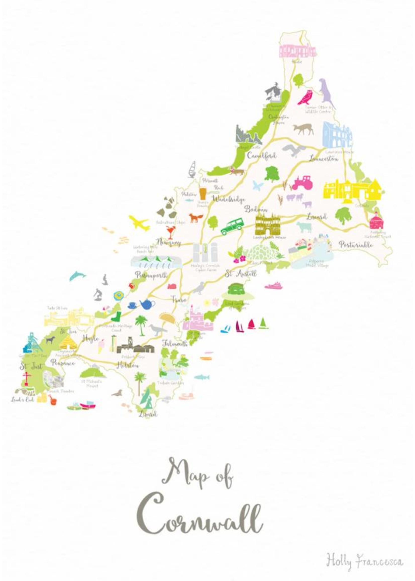 Holly Francesca Holly Francesca Map of Cornwall A3