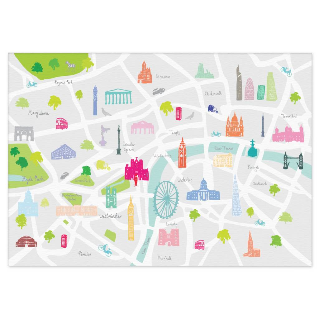 Central London Map To Print.Holly Francesca Map Of London Print