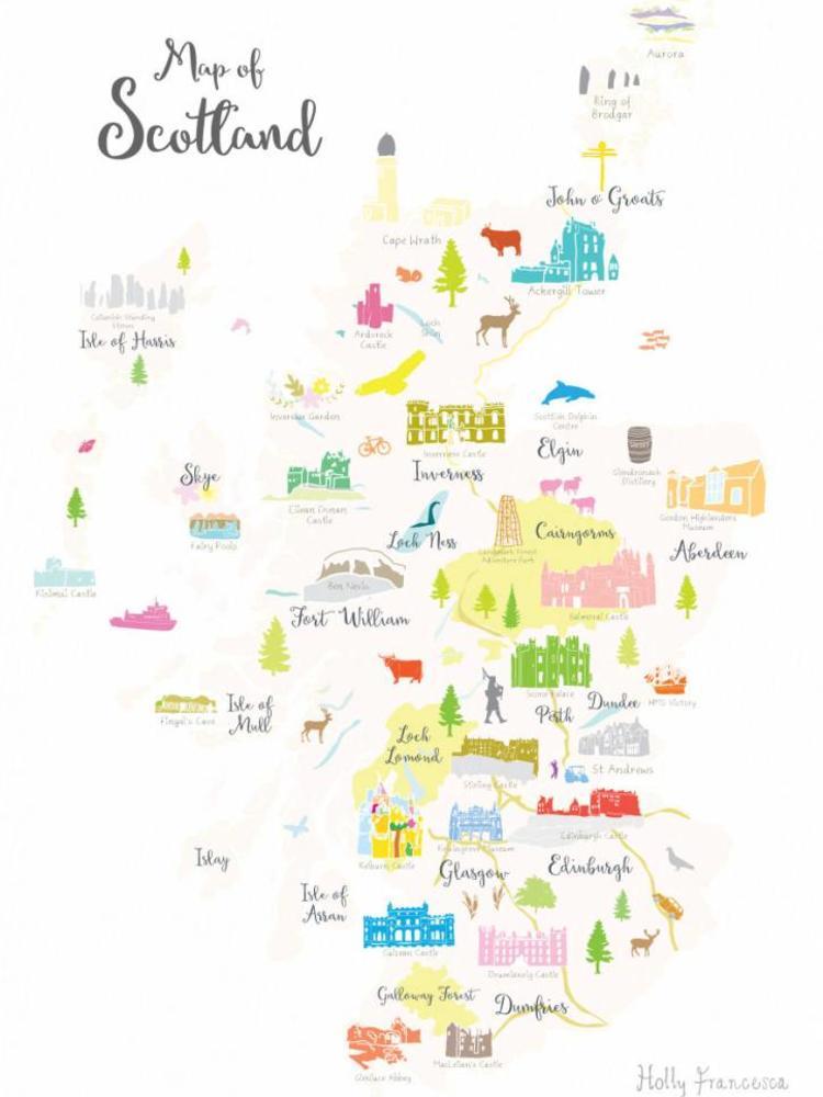 Holly Francesca Holly Francesca Map of Scotland A3