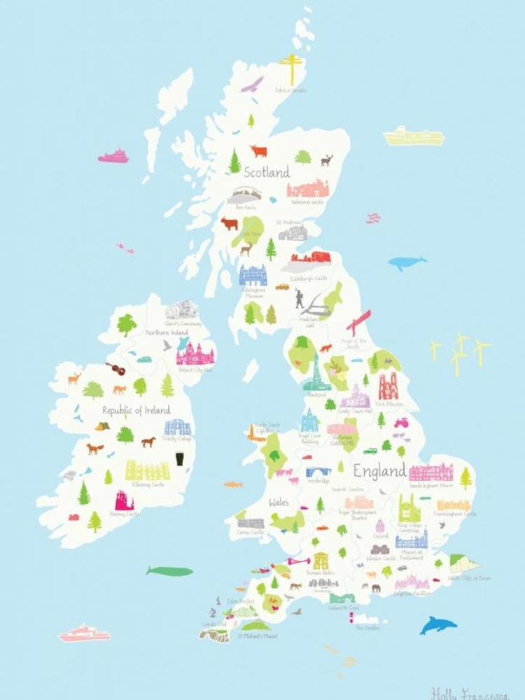 photo relating to Printable Map of Uk and Ireland identify Holly Francesca Holly Francesca Map of the United kingdom A3