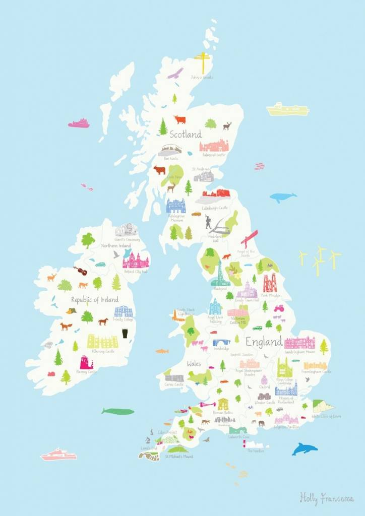 Map Of The Uk Printable.Holly Francesca Map Of The United Kingdom Print