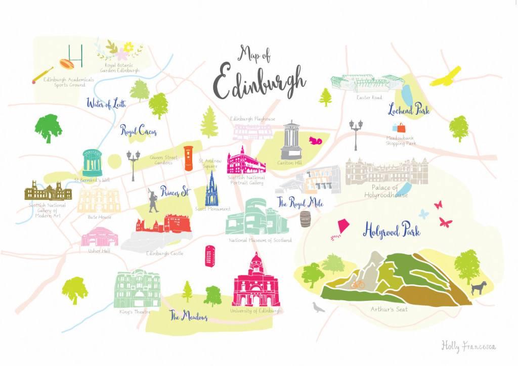 Holly Francesca Map of Edinburgh Print