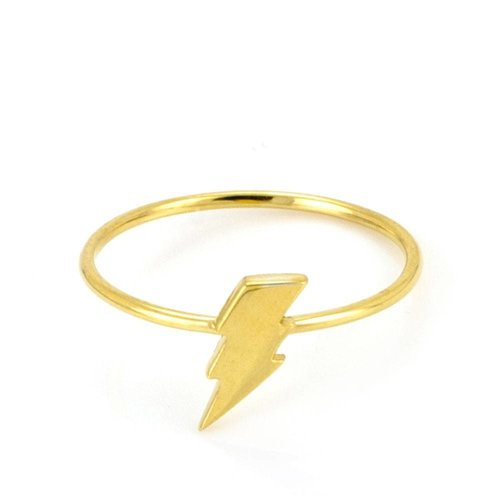 Laura Gravestock Dainty Lightning Stacking Ring - Gold Plated - J