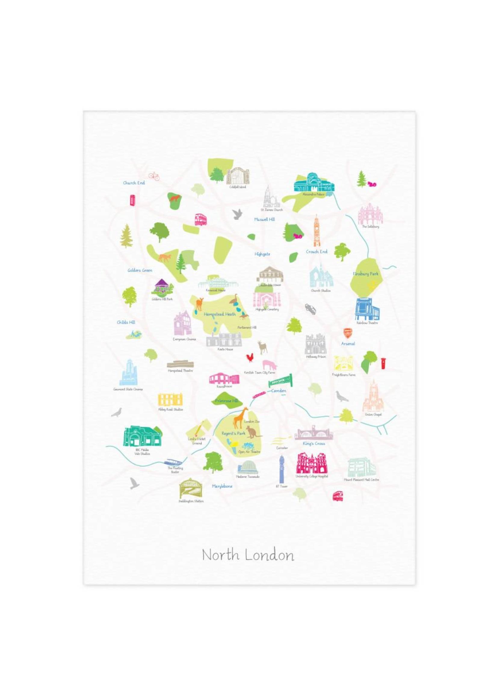 Holly Francesca Holly Francesca Map of North London - A3