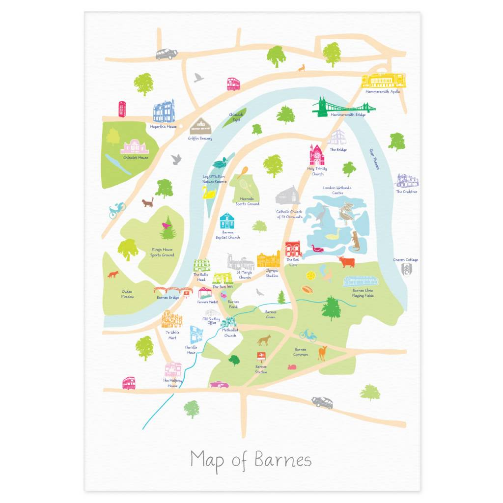 Map Of South West London.Holly Francesca Map Of Barnes Print