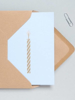 Ola Foil Blocked Cards: Candle Blue/Brass