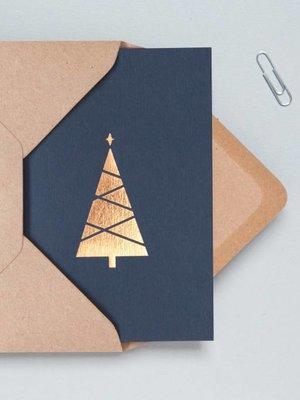 Ola Ola Foil Blocked Cards: Christmas Tree, Navy/RoseGold