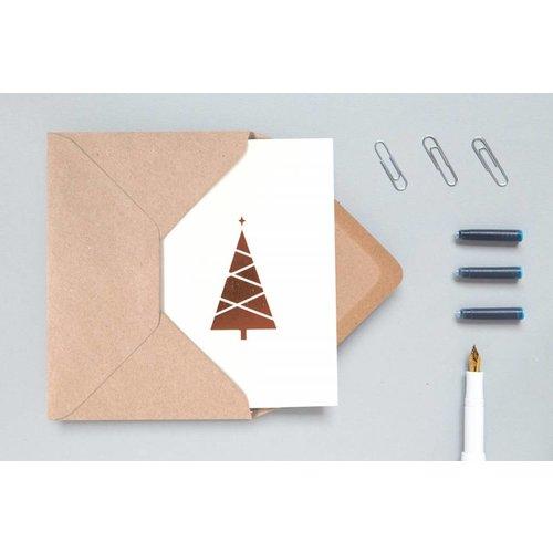 Ola Ola Foil Blocked Cards: Christmas Tree, Stone/Copper