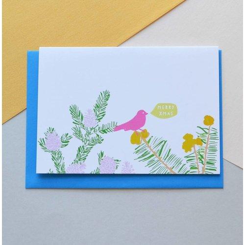 Holly Francesca Merry Christmas Pine Card
