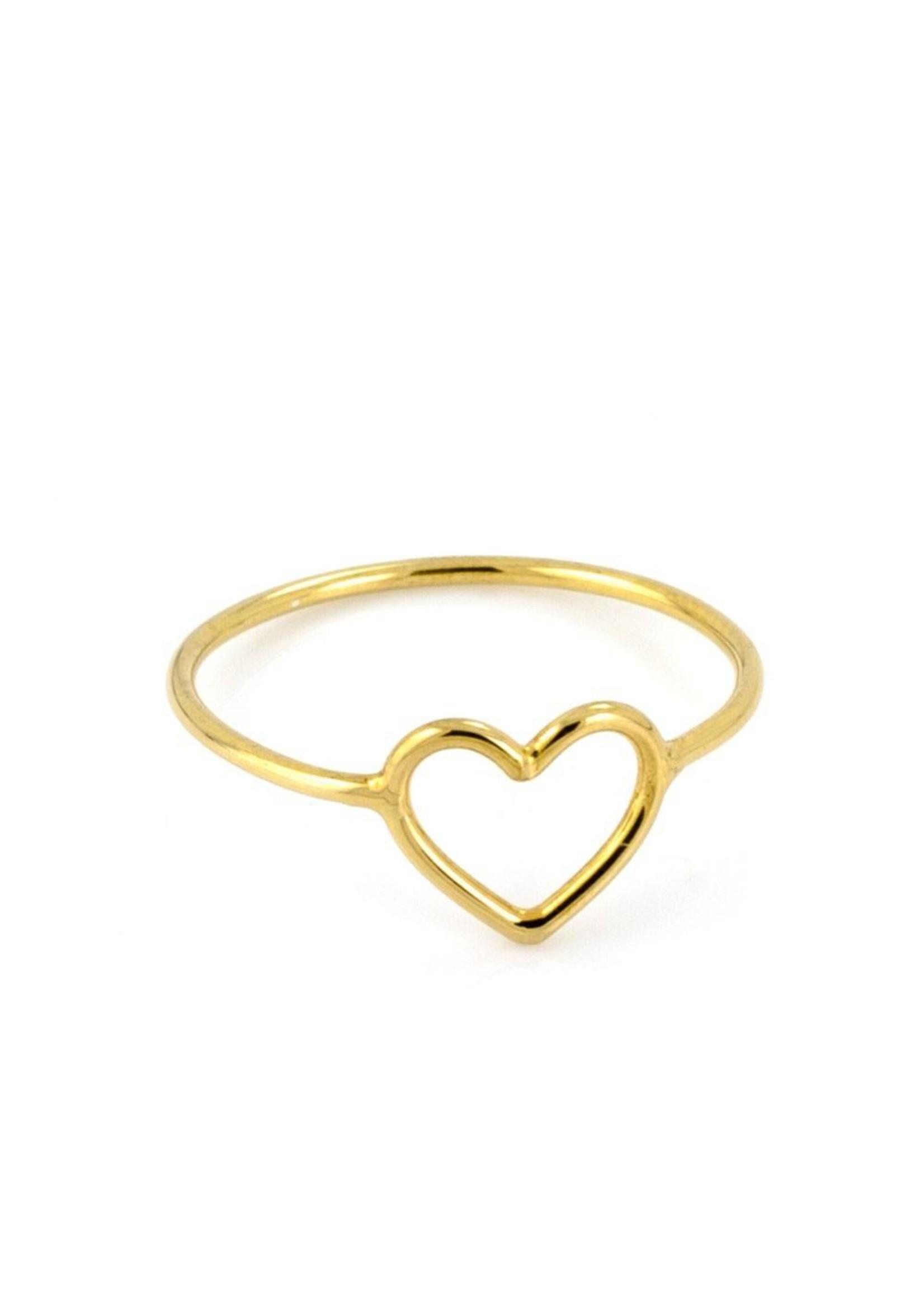 Laura Gravestock Laura Gravestock Written Tiny Heart Ring - 18ct Gold Plated Silver
