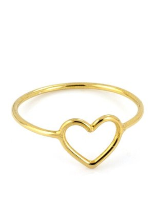 Laura Gravestock Laura Gravestock Written Tiny Heart Ring - 18ct Gold Plated Silver