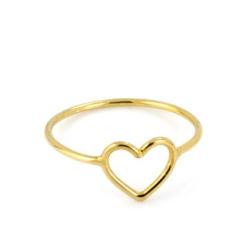 Laura Gravestock Written Tiny Heart Ring - 18ct Gold Plated Silver