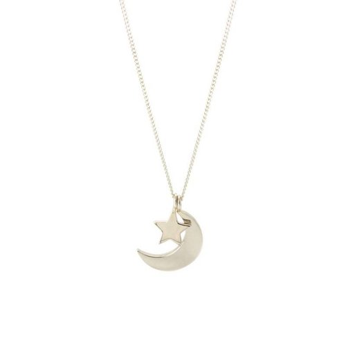 Laura Gravestock Dainty Moon and Star Necklace - Silver - 18""