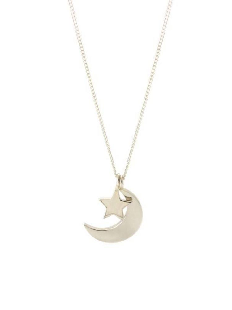 Laura Gravestock Laura Gravestock Dainty Moon and Star Necklace - Silver - 18""