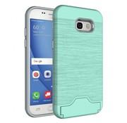 GSMWise Samsung Galaxy A5 (2017) Geborsteld Hardcase Hoesje met Pashouder en Standaard - Cyaan Turquoise