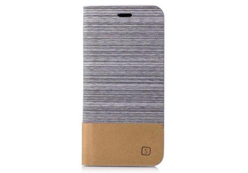 Samsung Galaxy A3 (2017) Denim Design Linnen Textuur Lederen Portemonnee Hoesje met Kaarthouder - Licht Grijs