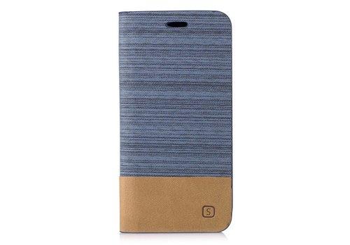 Samsung Galaxy A3 (2017) Denim Design Linnen Textuur Lederen Portemonnee Hoesje met Kaarthouder - Licht Blauw