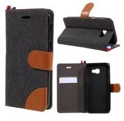 GSMWise Samsung Galaxy A3 (2017) Wallet Case Hoesje - Dutch Design Denim en Leer - Zwart