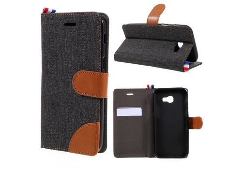 Samsung Galaxy A3 (2017) Wallet Case Hoesje - Dutch Design Denim en Leer - Zwart