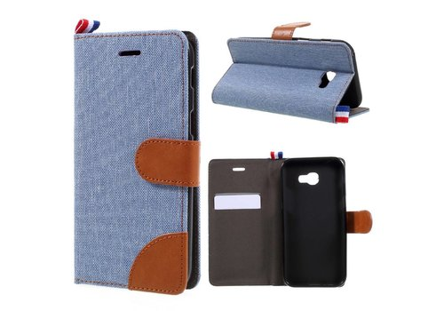 Samsung Galaxy A3 (2017) Wallet Case Hoesje - Dutch Design Denim en Leer - Licht Blauw