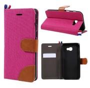 GSMWise Samsung Galaxy A3 (2017) Wallet Case Hoesje - Dutch Design Denim en Leer - Roze