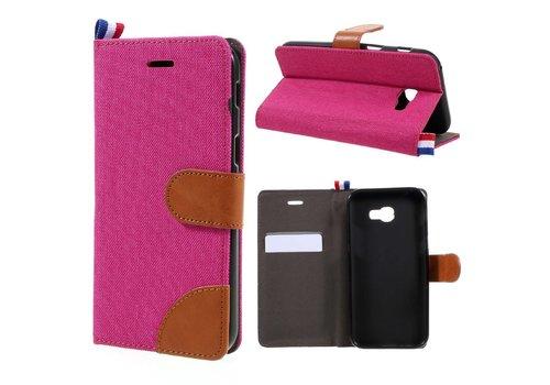 Samsung Galaxy A3 (2017) Wallet Case Hoesje - Dutch Design Denim en Leer - Roze