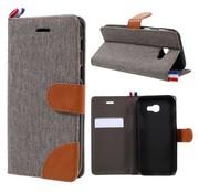 GSMWise Samsung Galaxy A3 (2017) Wallet Case Hoesje - Dutch Design Denim en Leer - Grijs